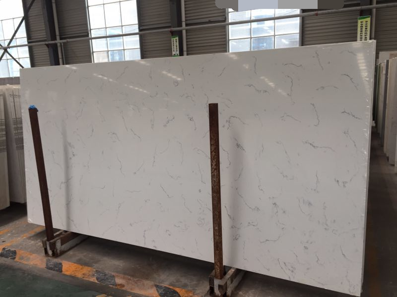 Carrara color quartz slabs