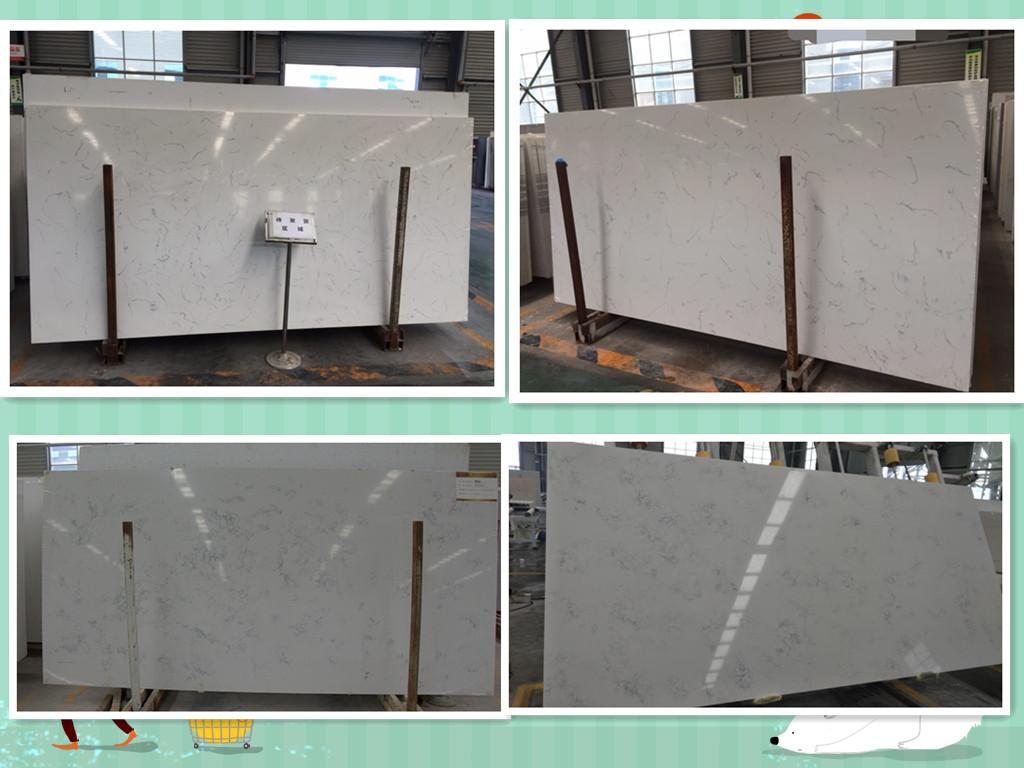 Carrara white quartz slabs