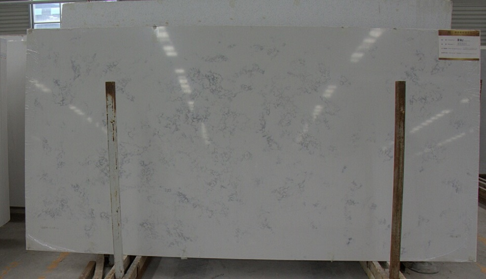 Artificial carrara color quartz slabs