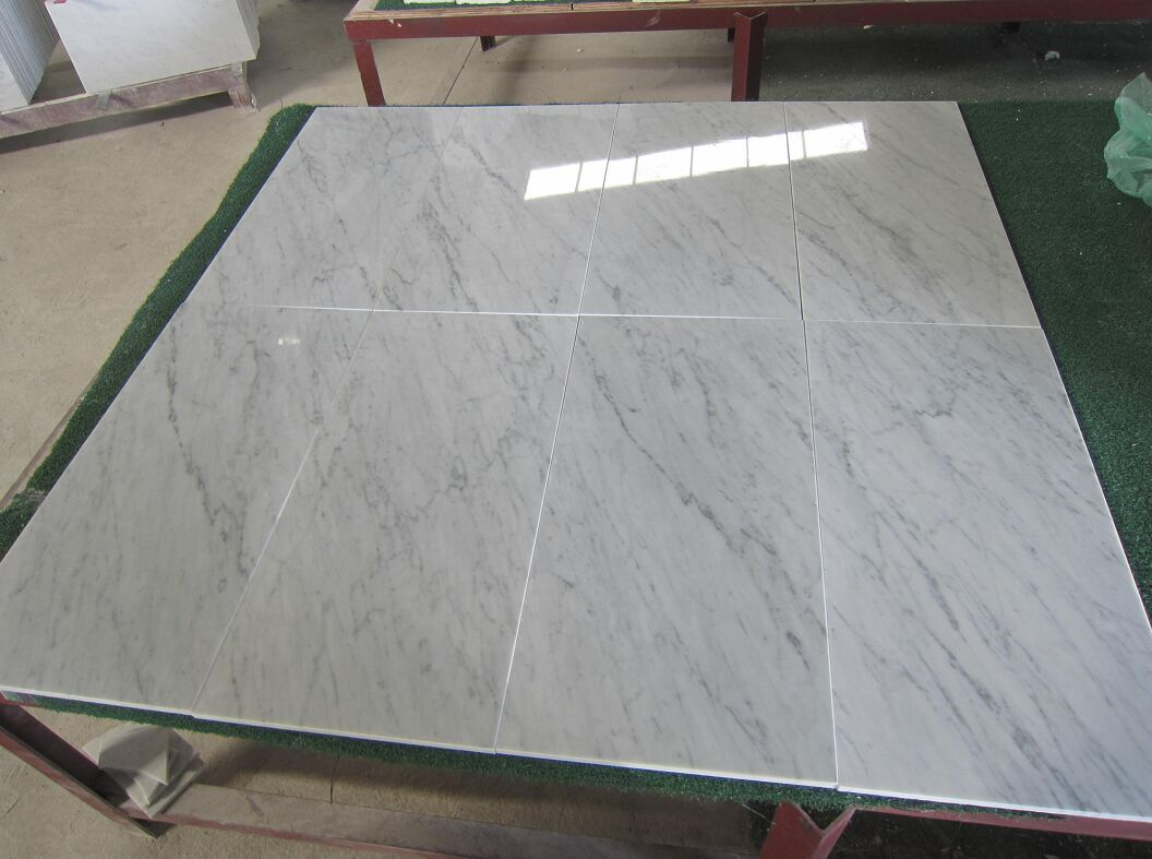 Polished Italian Carrara White Marble Tiles