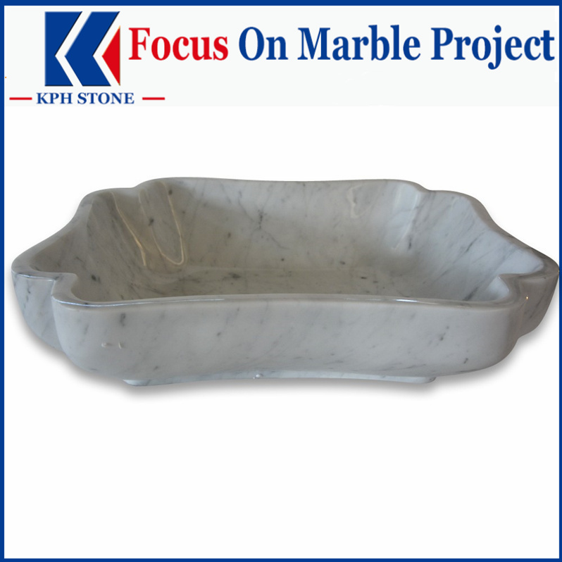 Polished 20 Flower Vessel Marble Basin Sink