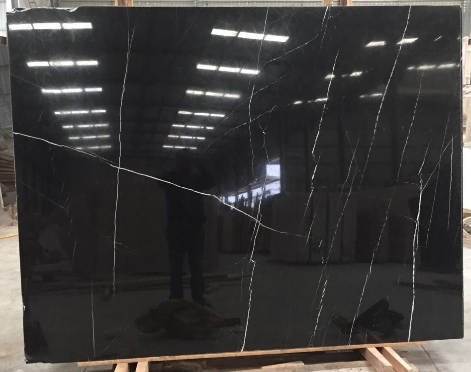 Cheap Chinese Black Marquina Marble Slab Price