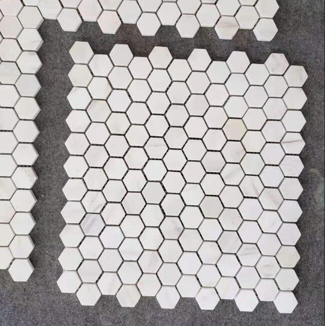 White Bianca Marblea Hexagon Mosaic Marble