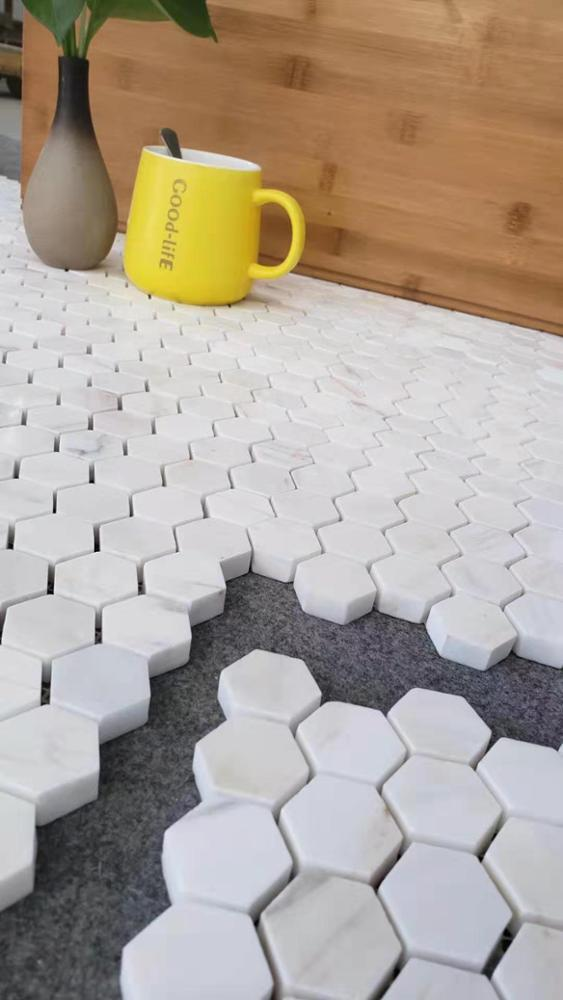 Bianca Marblea White Grey Mosaic Tiles