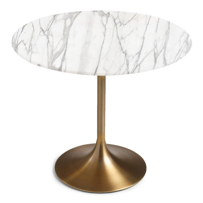 Luxury Calacatta White Round Marble Tabletop