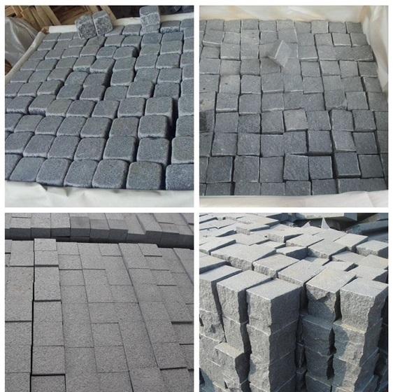 China dark grey granite G654 cubes flamed customize size