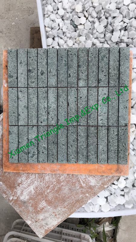 China Green Sukabumi Stone Granite Sawn Mosaic Slim Tiles