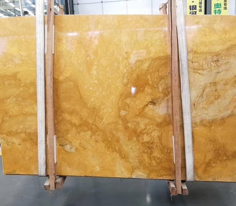 China Polished Pure Yellow Marble Slabs