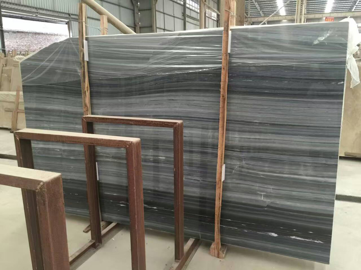 Chinese Grey Wooden Marble Slabs Competitive