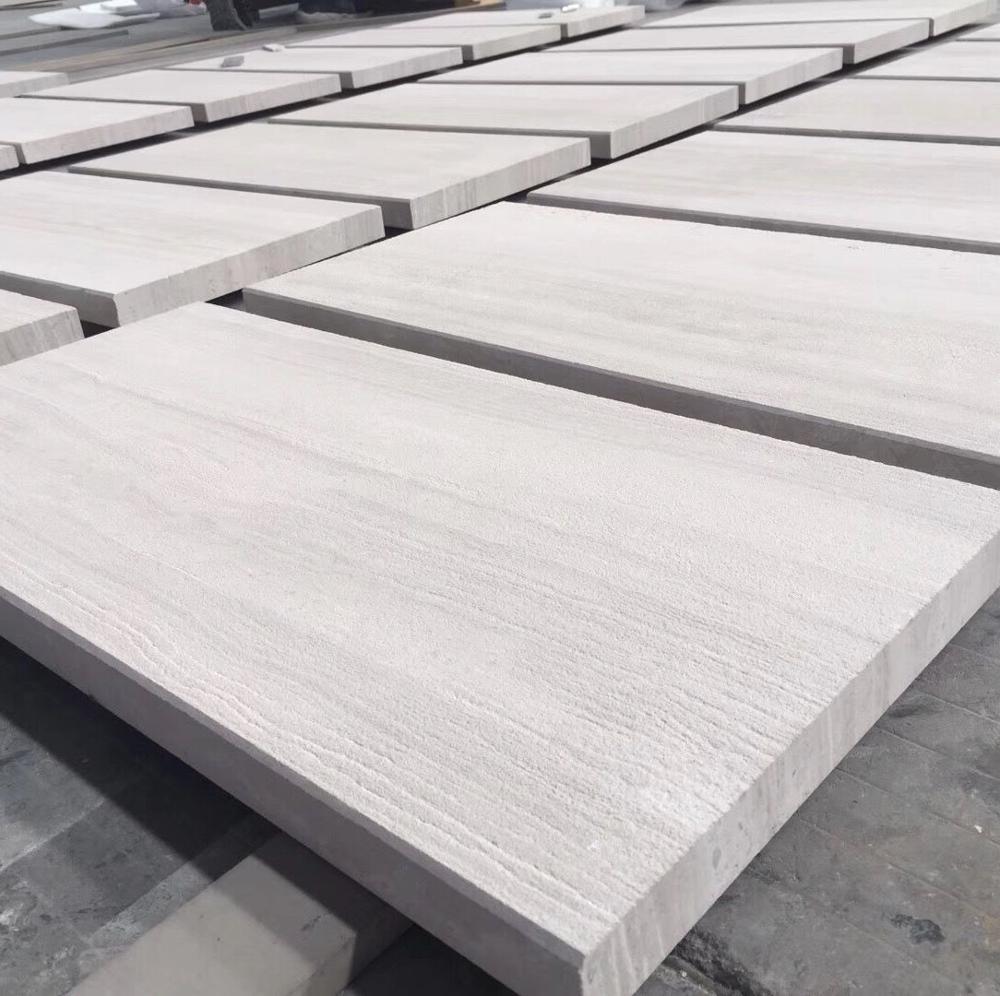 Chinese White Wooden Marble Tile Sandblasted Wooden White Wooden Marble Wooden White Marble