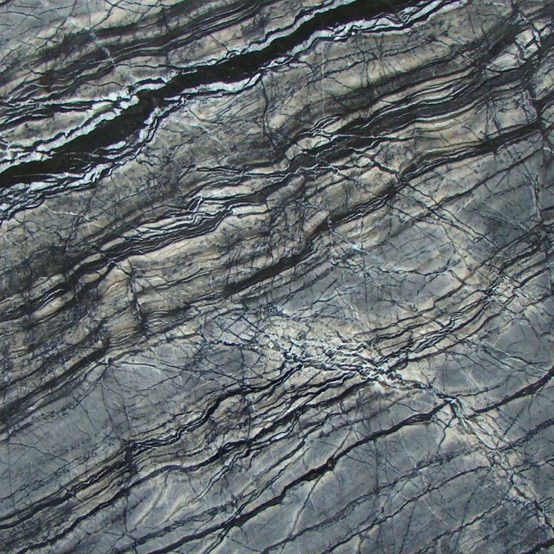 Chinese Dark Wooden Grain Black Zebra Marble