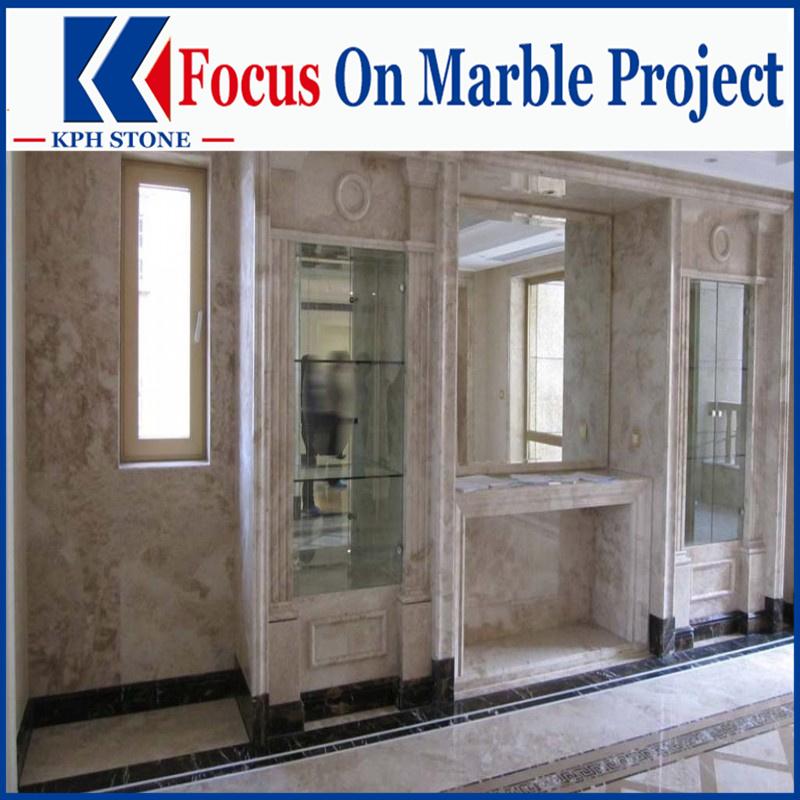 Classical Light Beige Marble tile bathroom floor