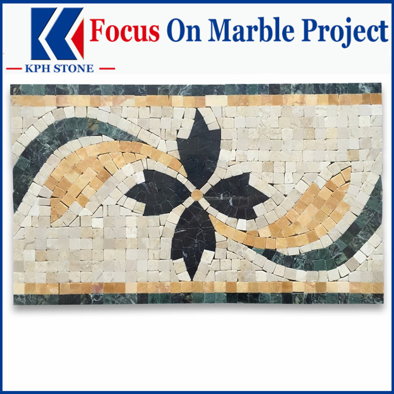 Clover Nero 7.9x13 Marble Mosaic Border Listello Tile Polished