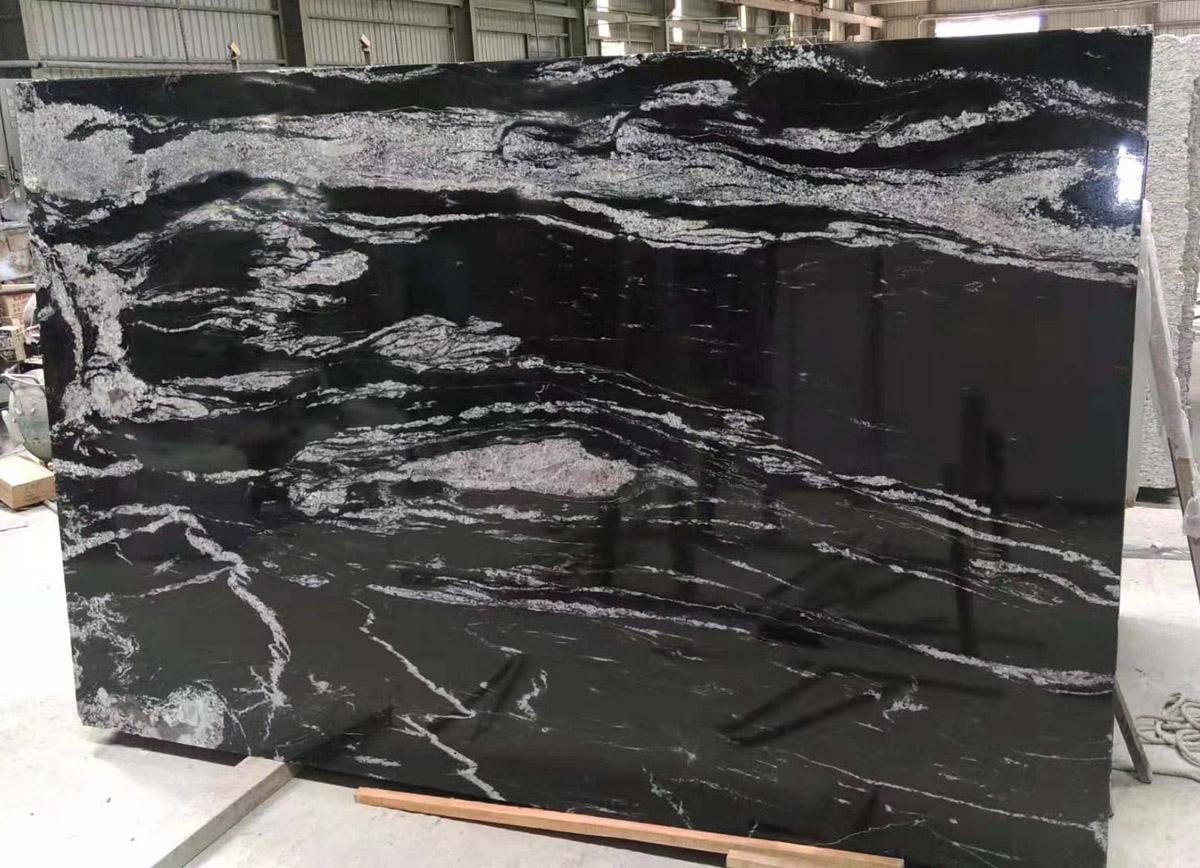 Cosmic Black Granite Slabs for Kitchen Countertops