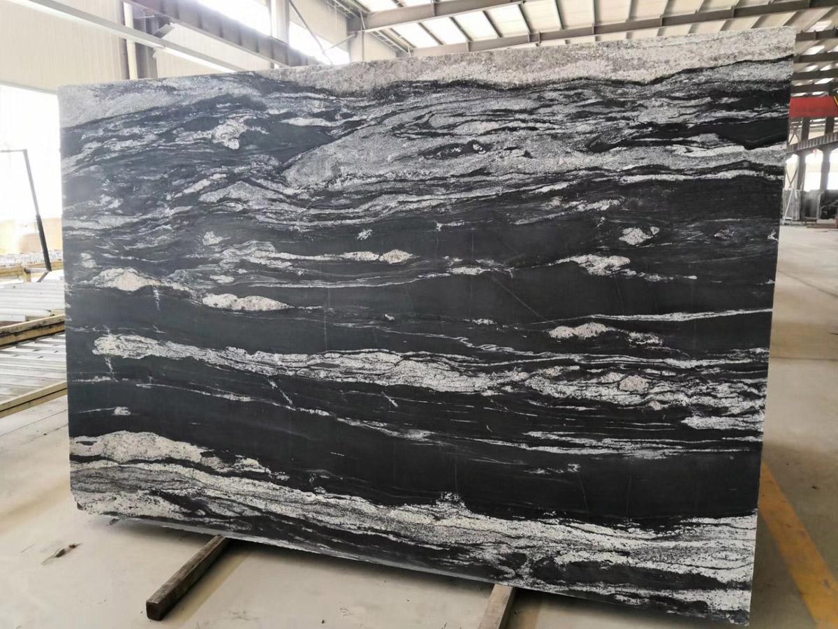 Cosmic Black Polished Granite Stone Slabs