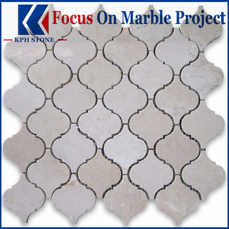 Crema Marfil Medium Lantern Shaped Arabesque Baroque Mosaic Tile Polished