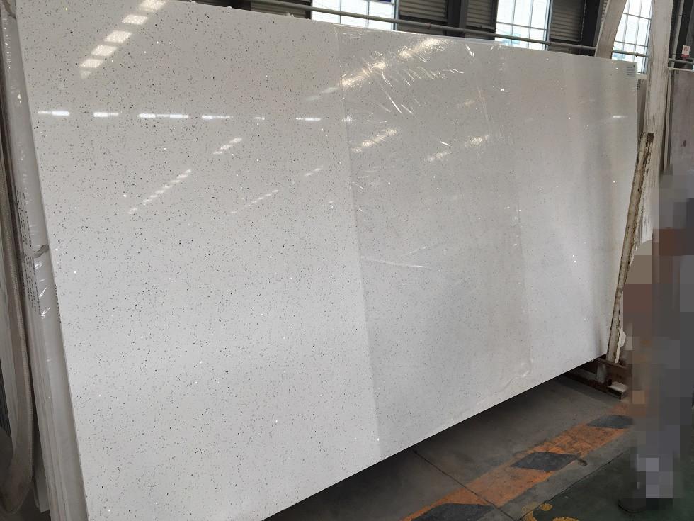 Diamond white quartz slabs