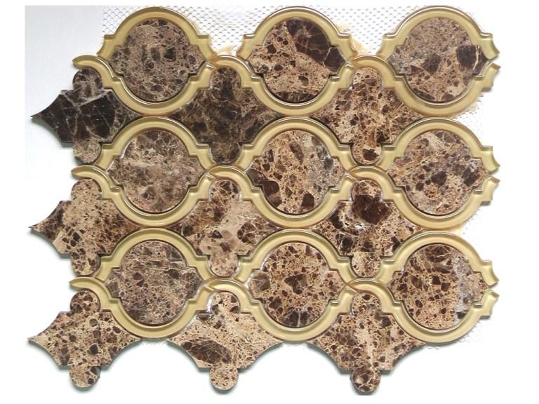 Marble Mosaic Emperador Waterjet