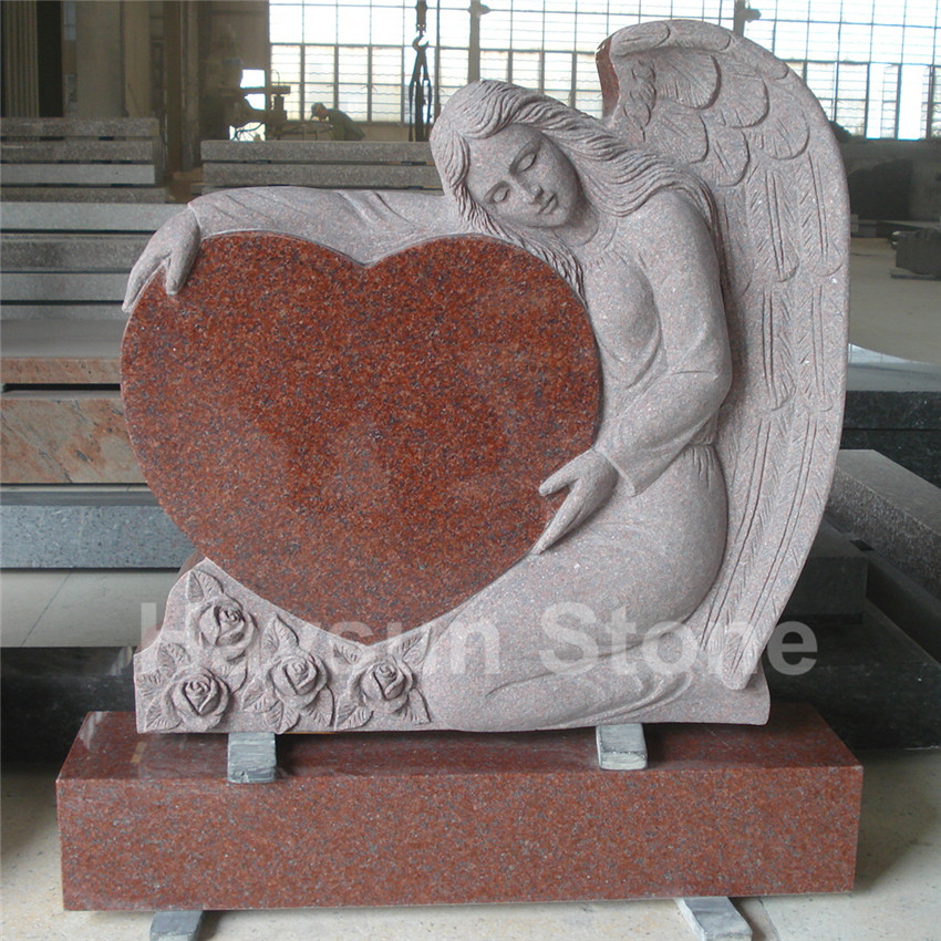 Imperial Red Granite Single Angel Heart Tombstone