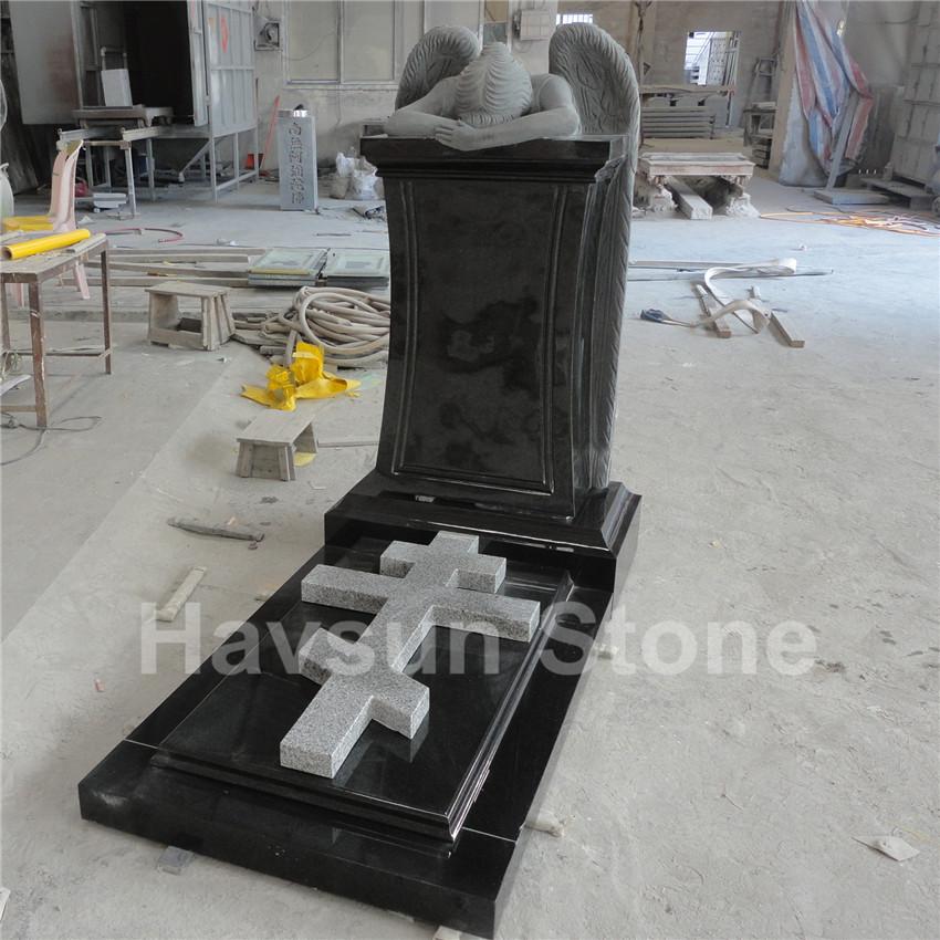 Black Weeping Angel Cross Tombstone Monument