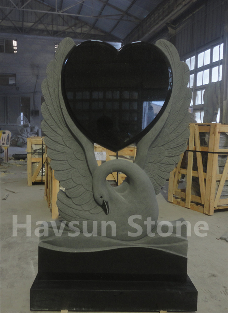 Swan Heart Headstone Monument Tombstone