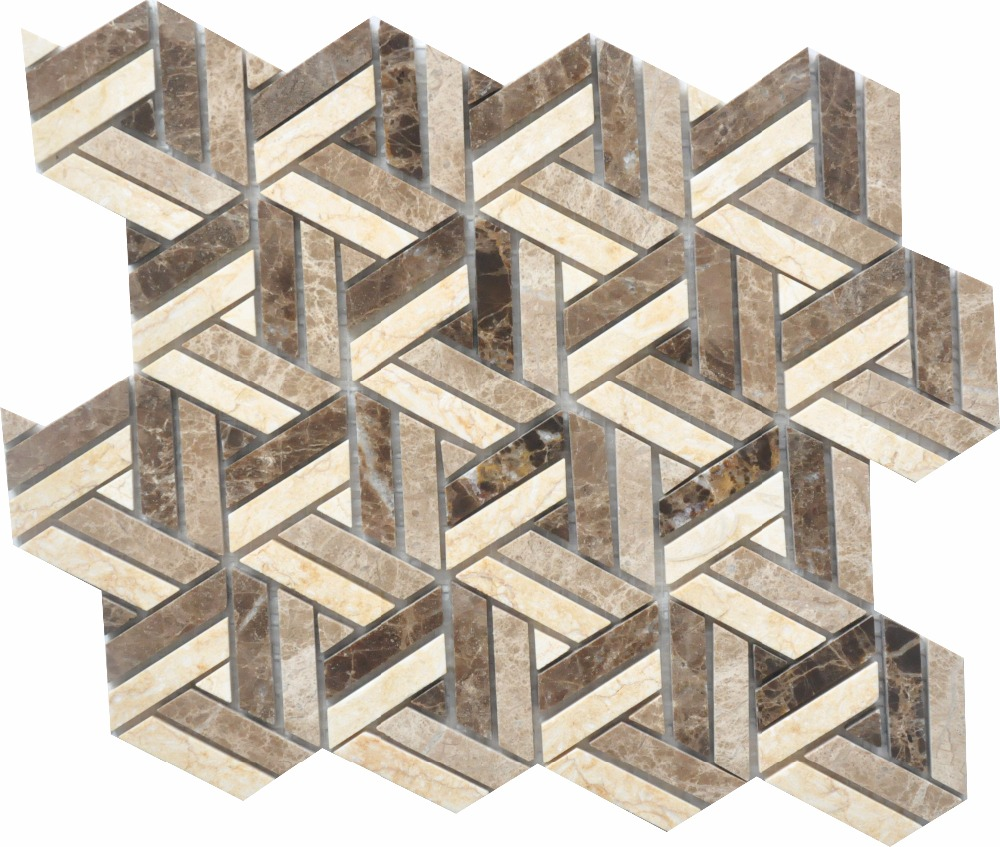 Dark Emperador  Light Emperador  New beige basketweave herringbone natural stone mosaic tiles