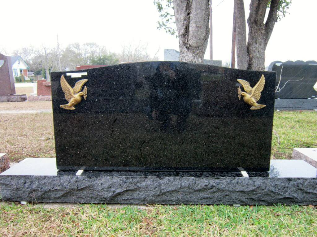 Black Granite Headstone With Golden Birds