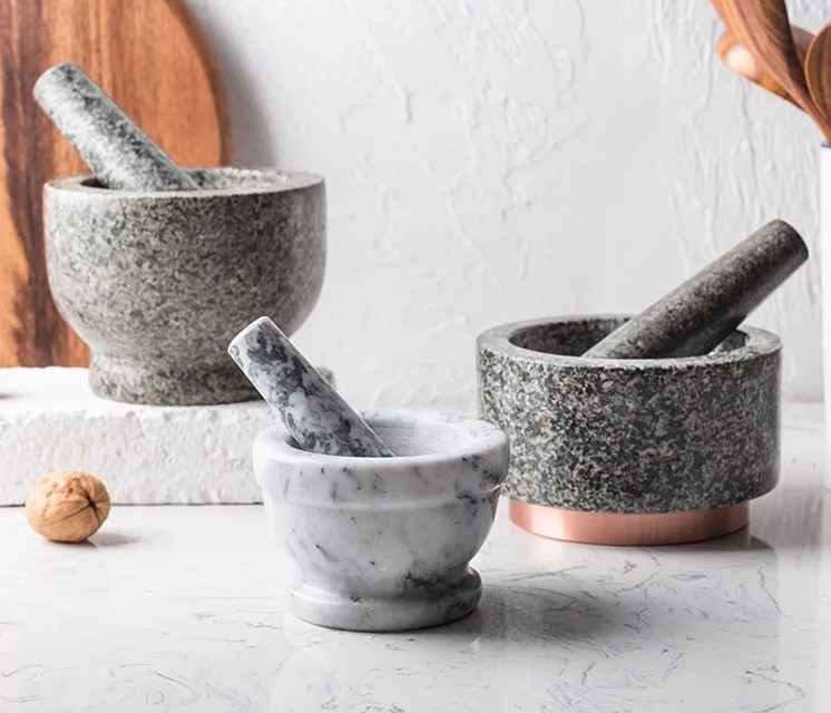 White Marble Herb Mortar And Pestle Set