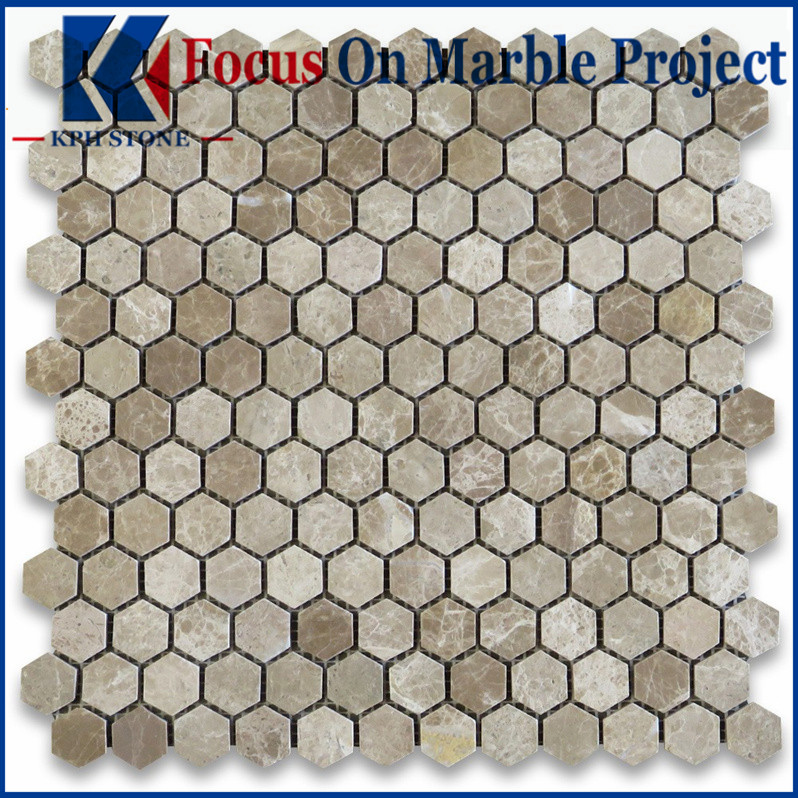 Emperador Light Hexagon Mosaic Tile Polished