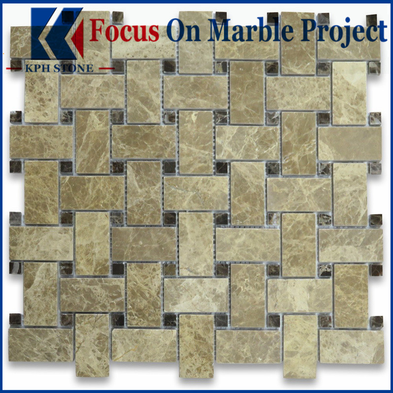 Light emperador marble mosaic backsplash