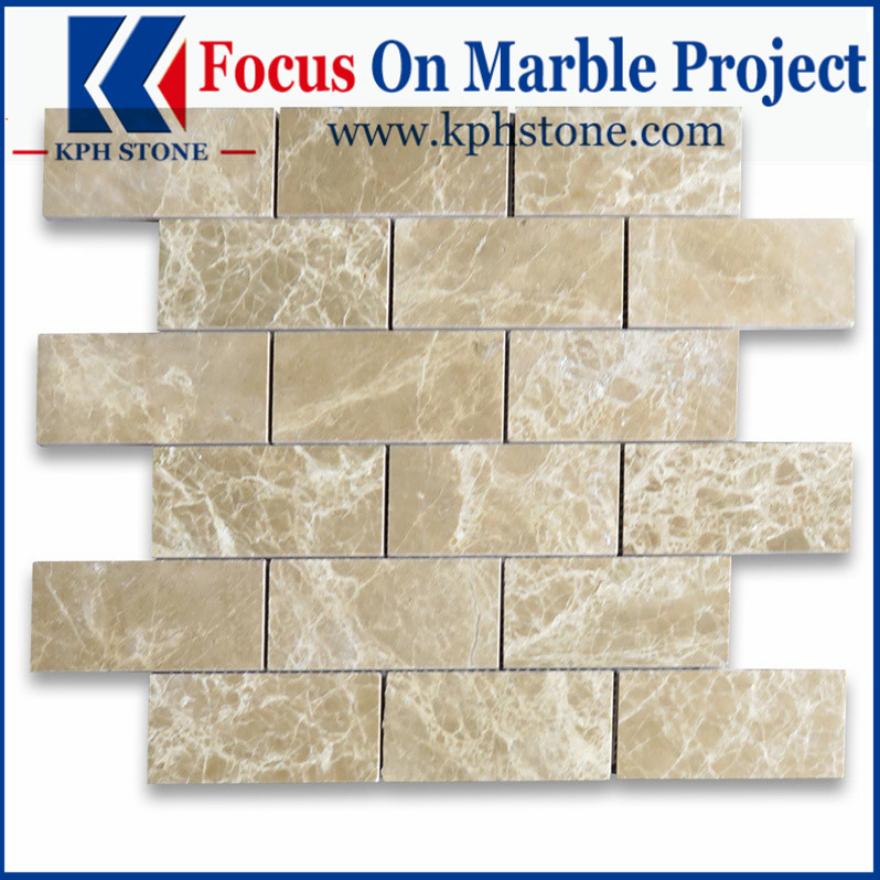 Emperador Light 2x4 Grand Brick Subway Mosaic Tile Polished