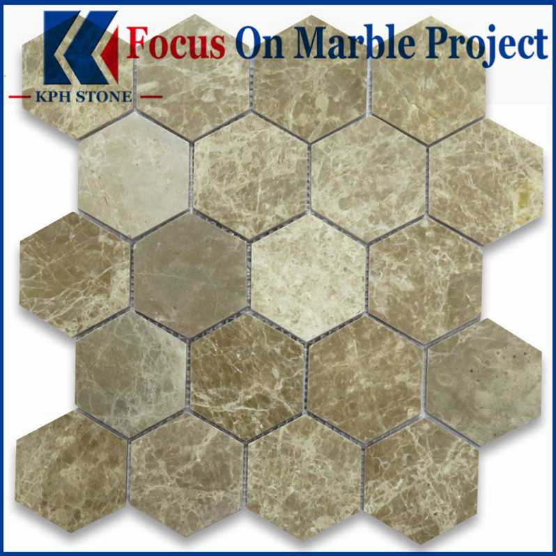 Emperador Light 3 Inch Hexagon Mosaic Tile Polished