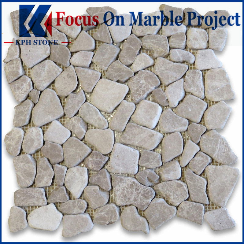 Emperador Light River Rocks Pebble Stone Mosaic Tile Tumbled