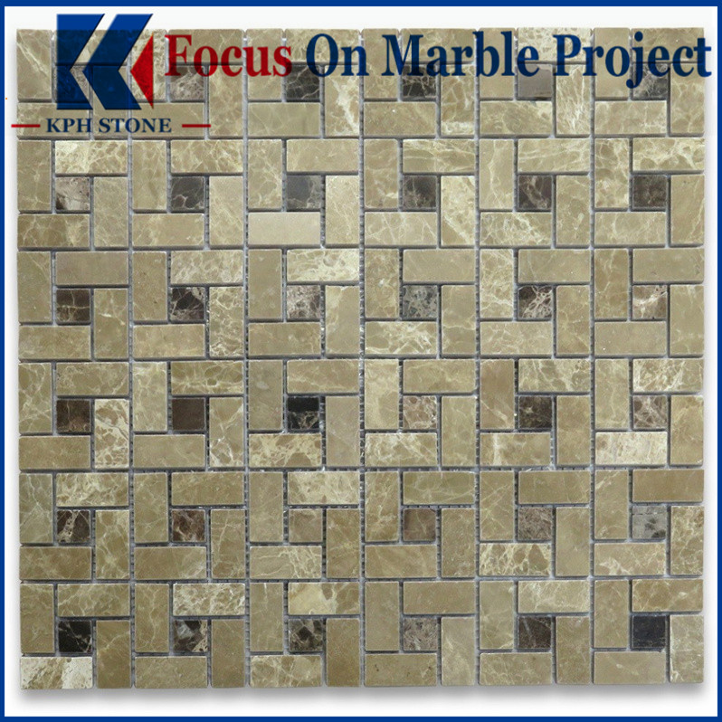 Emperador Light Target Pinwheel Mosaic Tile w Gray Dots Polished