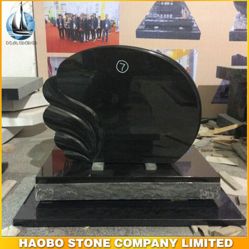 European Tombstone Black Granite With Fan shape Monument