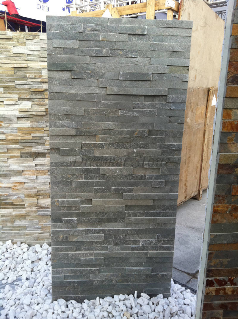 Grey slate culture stone exterior wall designs