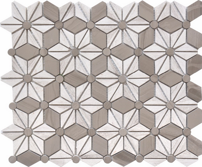 White wood  Athen Grey flower sharp mosaic tile