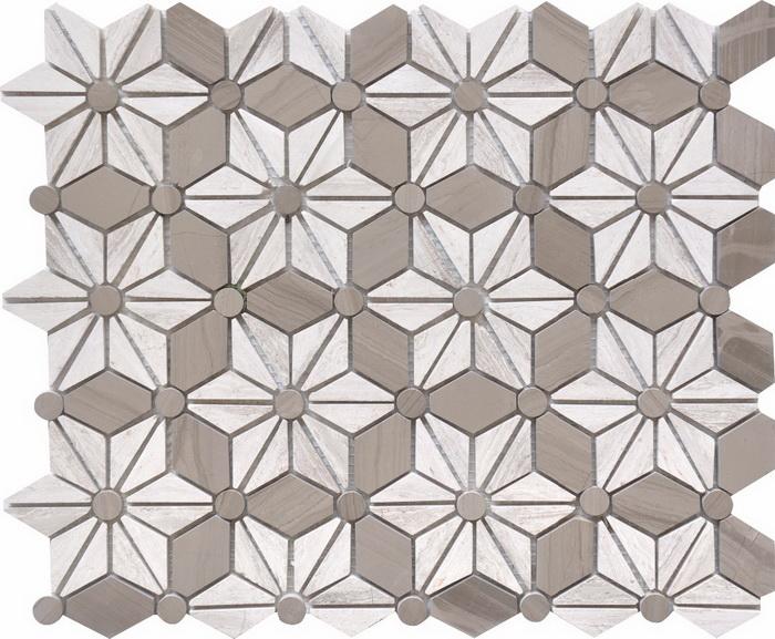 White wood  Athen Grey flower sharp mosaic tile