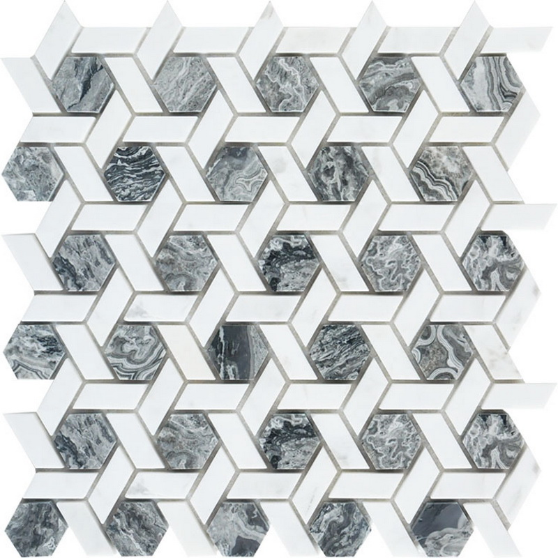 Sea grey  Crystal white hexagon mosaic
