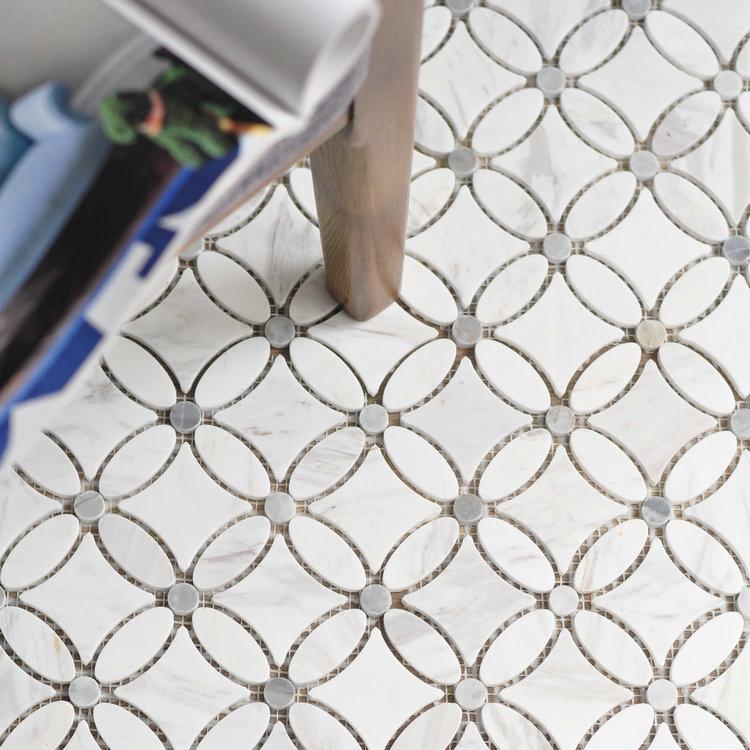 Volakas  Italy Grey flower shap mosaic tile