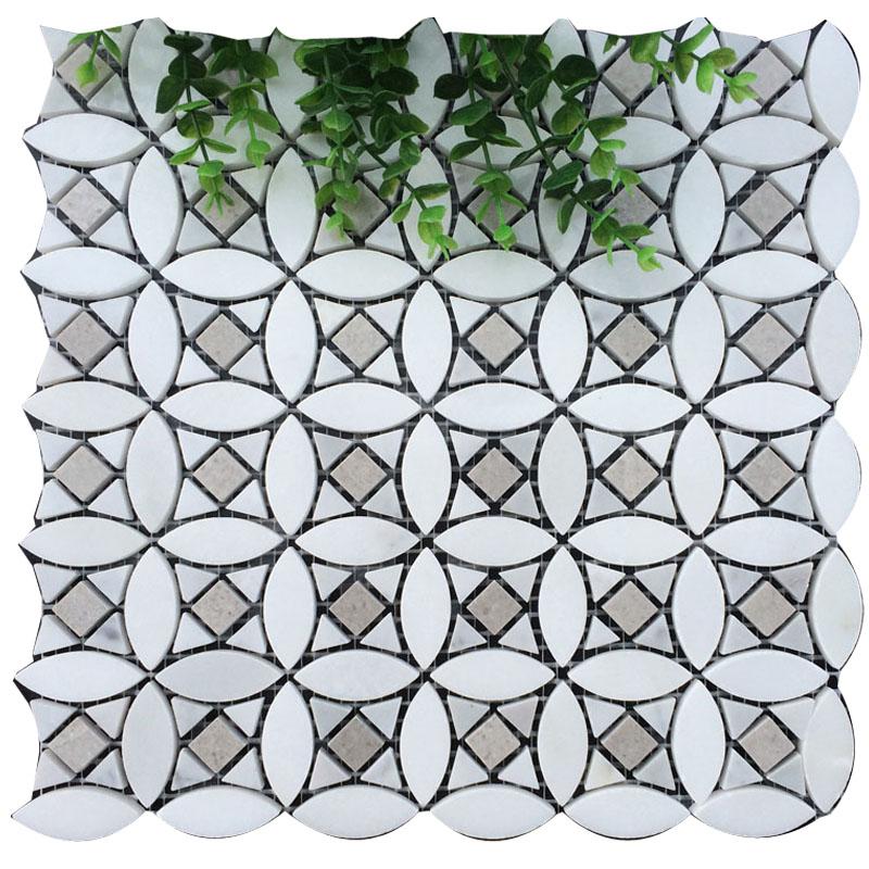 Crystal white carrara white lady grey flower sharp mosaic