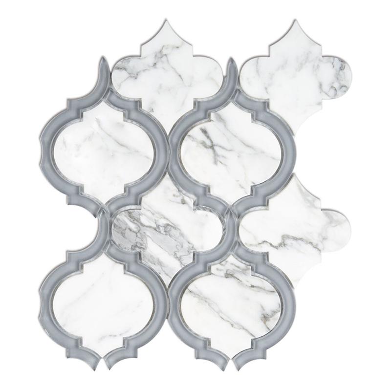 Statuario white  Grey Glass WaterJet Mosaic