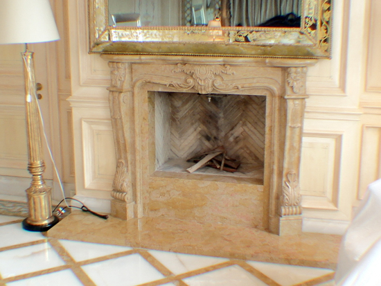 Beige Marble Fireplace
