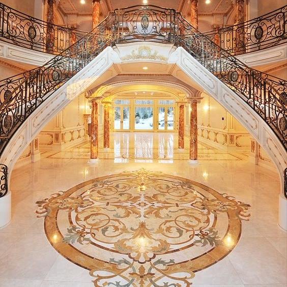 Waterjet inlay medallion marble flooring design
