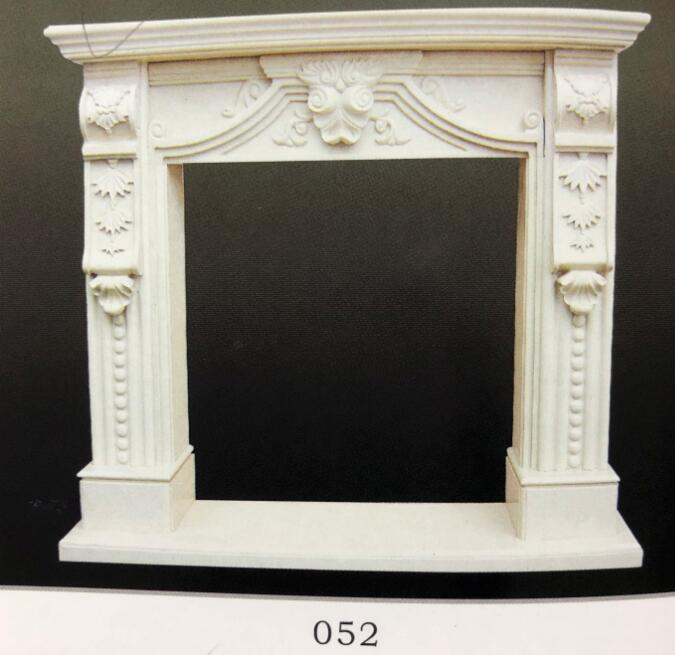 Chinese Beige Marble Stone Fireplace
