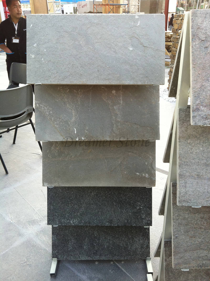 Multicolor flamed black quartzite cultured stone floor tile