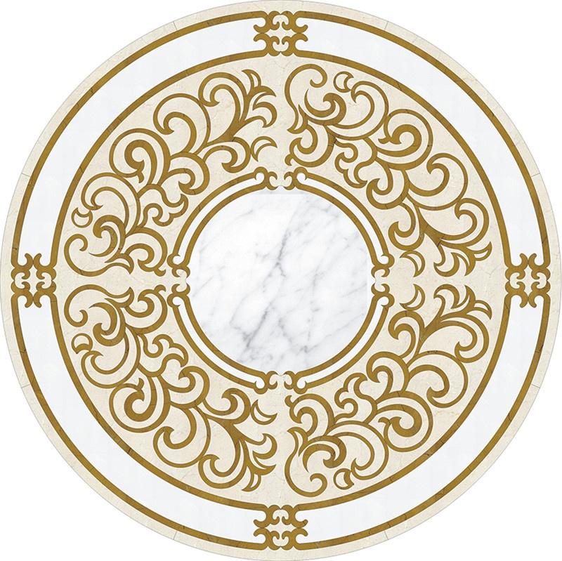 BIanco calacatta statuario carrara white marble round waterjet pattern medallions
