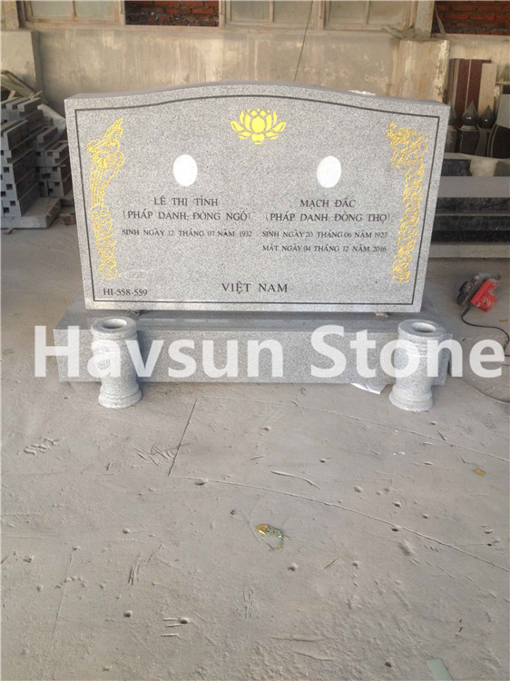 Grey Granite Headstone  Monument for Vietnam