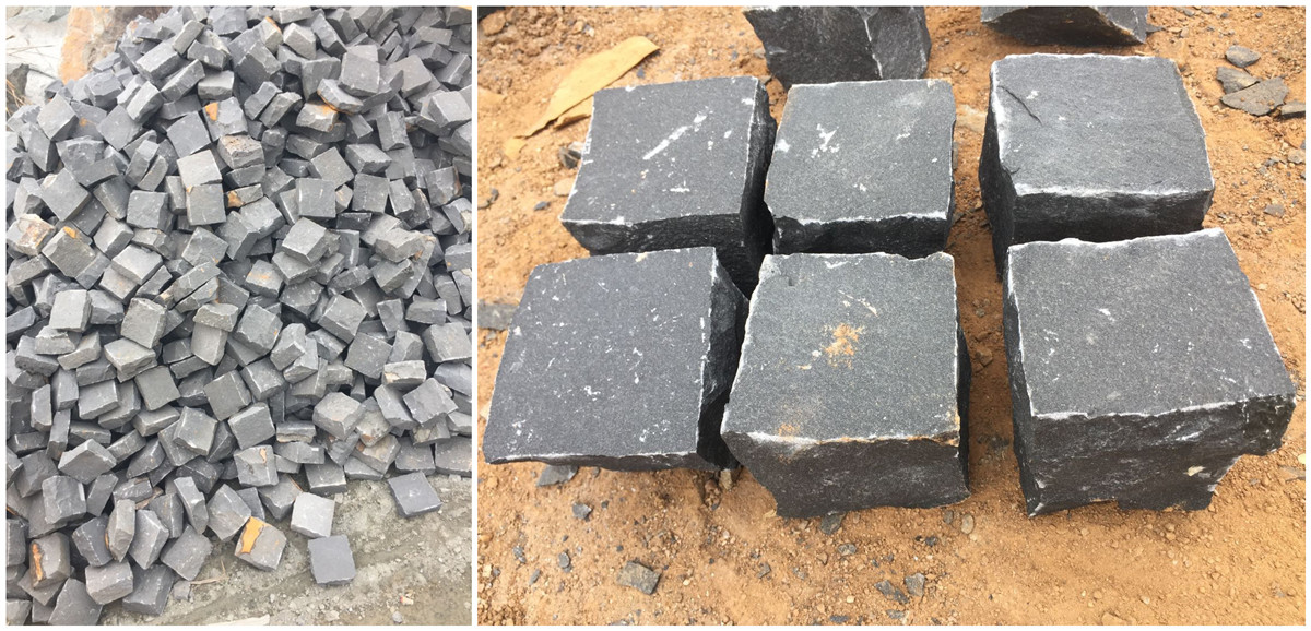 China basalt G684 cobbles natural split