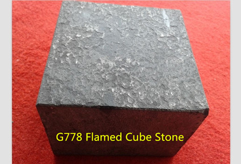 G778 Black Basalt Cube Stone Flamed surface